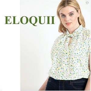 "ELOQUII Tie Neck Dolman Top, ""Tropicool"", Size 16"